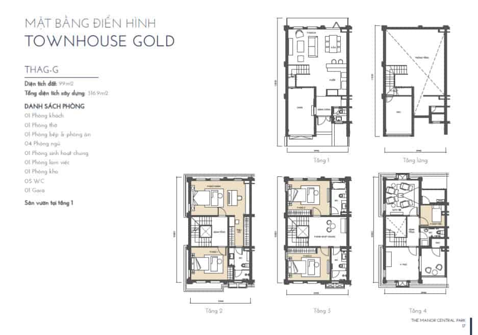 MẶT BẰNG TOWNHOUSE GOLD 2