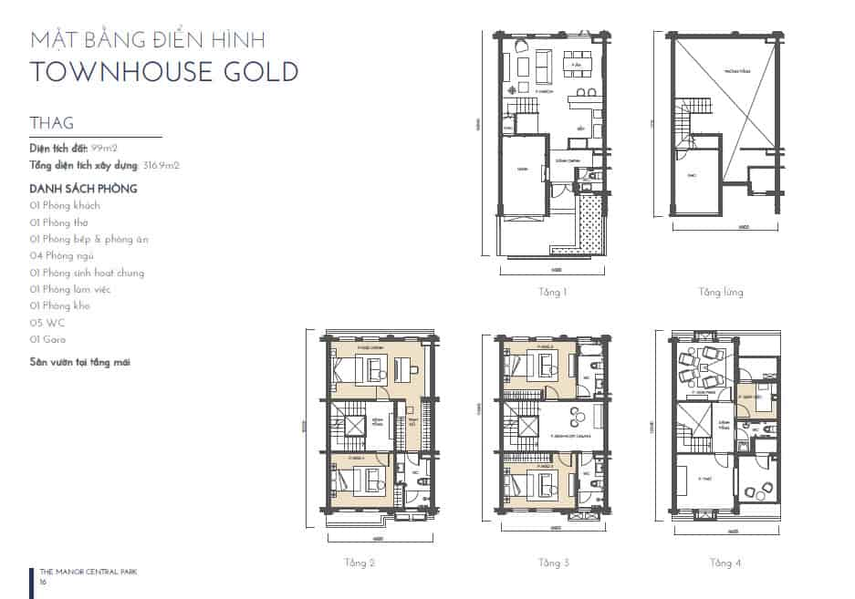 MẶT BẰNG TOWNHOUSE GOLD 1